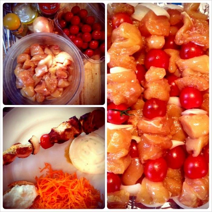 photo préparation recette Brochettes de poulet mariné
