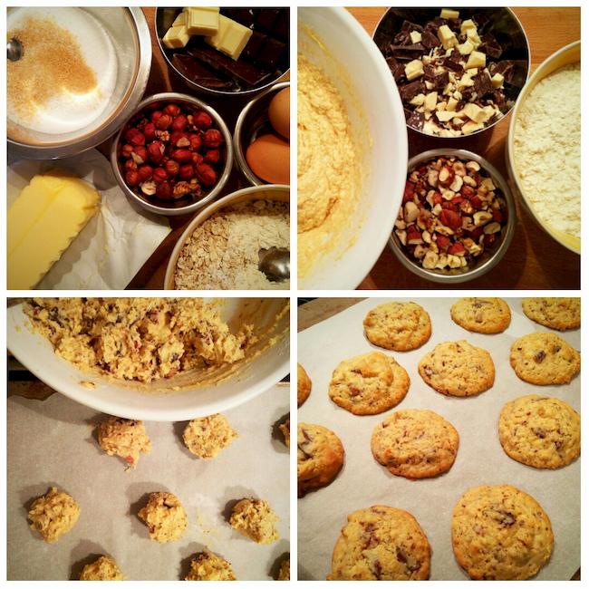 photo préparation recette Cookies aux deux chocolats et aux noisettes