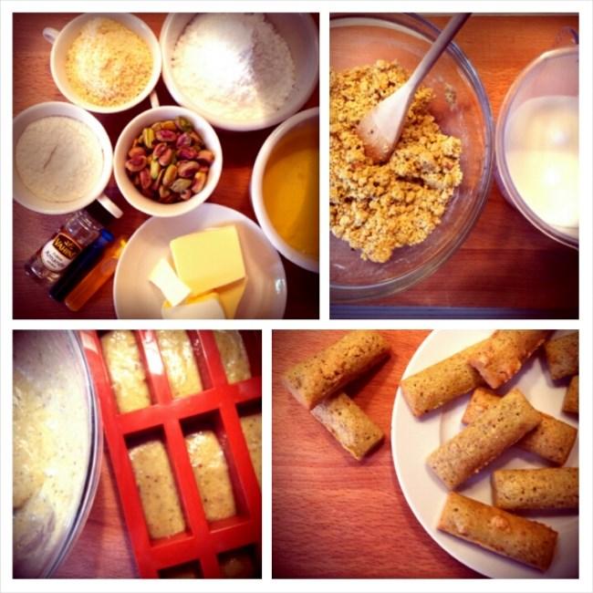 photo préparation recette Financiers à la pistache