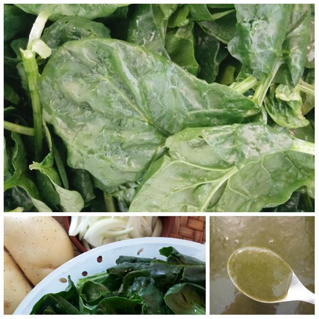 photo préparation recette Soupe aux épinards