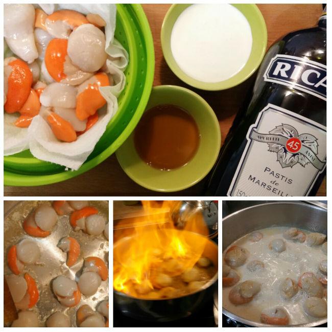 photo préparation recette Noix de St Jacques flambées au pastis