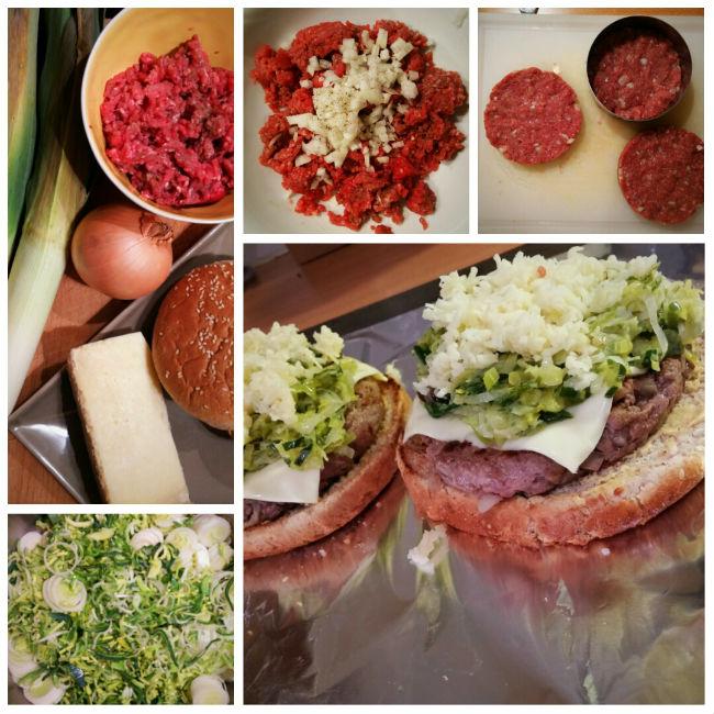 photo préparation recette Burger au Cantal et à la fondue de poireaux