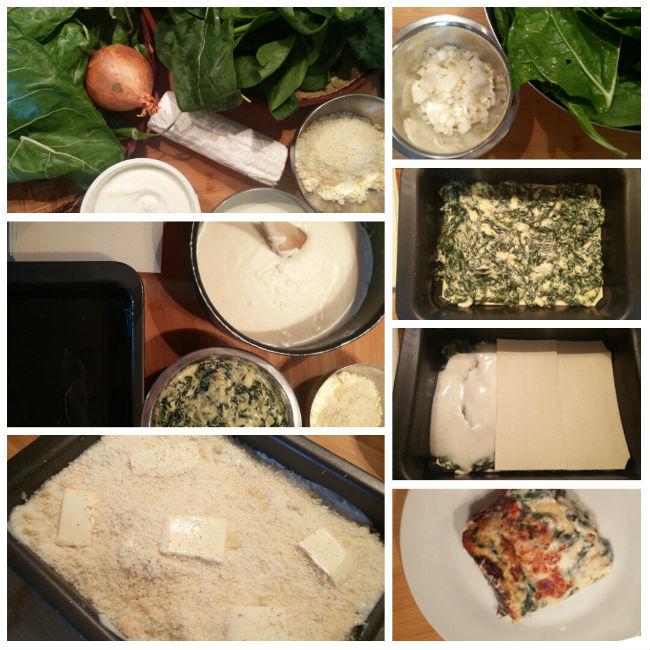 photo préparation recette Lasagnes chèvre épinards